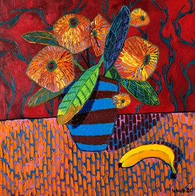 Living room painting by David Schab titled Red still life with banana