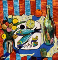 Living room painting by David Schab titled Bon appetit
