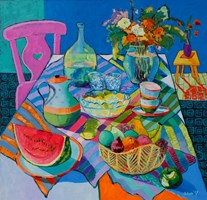 Living room painting by David Schab titled  Still life with a pink chair