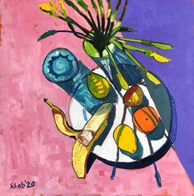 Living room painting by David Schab titled  Still life with daffodils and fruit