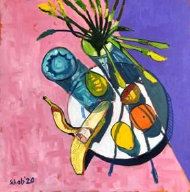 Obraz do salonu artysty David Schab pod tytułem Martwa natura z żonkilami i owocami