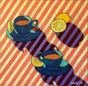Living room painting by David Schab titled Teatime