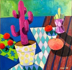 Obraz do salonu artysty David Schab pod tytułem Martwa natura z różowym kaktusem