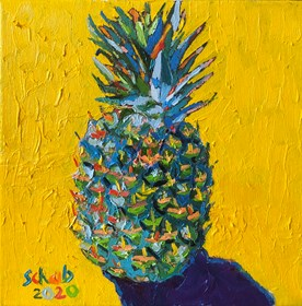 Living room painting by David Schab titled  Pineapple on yellow