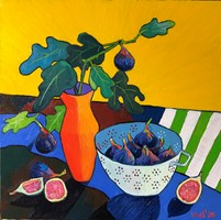 Living room painting by David Schab titled Figs