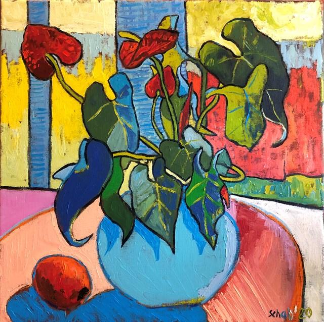 Obraz do salonu artysty David Schab pod tytułem Anturium w wazonie