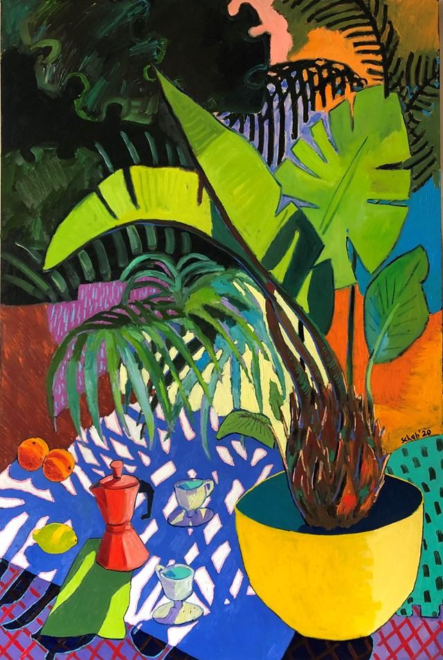 Obraz do salonu artysty David Schab pod tytułem Kawa pod palmami