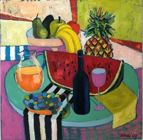 Obraz do salonu artysty David Schab pod tytułem Wino i owoce