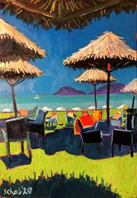 Living room painting by David Schab titled  Holidays in Zakynthos