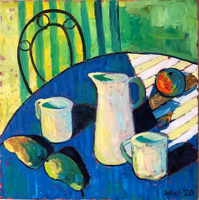 Obraz do salonu artysty David Schab pod tytułem Stół w zielonym pokoju