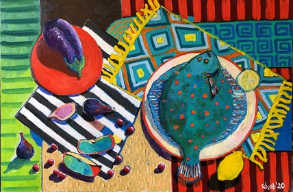Living room painting by David Schab titled Still life with plaice