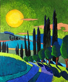 Living room painting by David Schab titled Sunset in Tuscany
