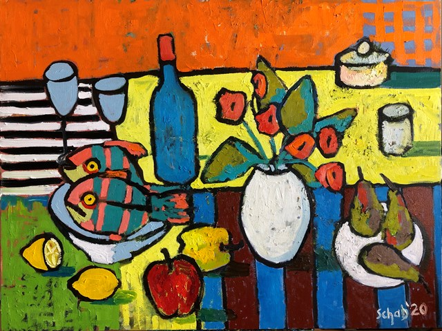 Living room painting by David Schab titled Still life with fish and a white vase