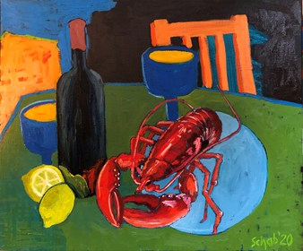 Living room painting by David Schab titled Lobster and wine