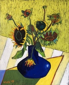Living room painting by David Schab titled Sunflowers in a sapphire vase