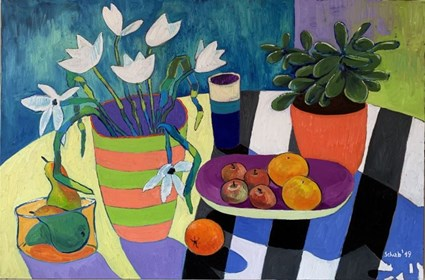 Living room painting by David Schab titled Still life with white flowers