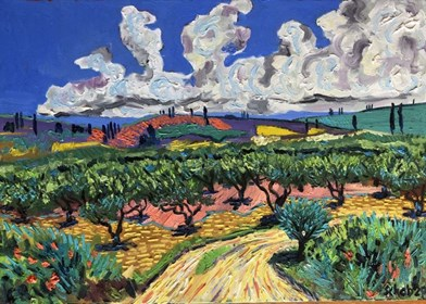Living room painting by David Schab titled Olive grove in Greece