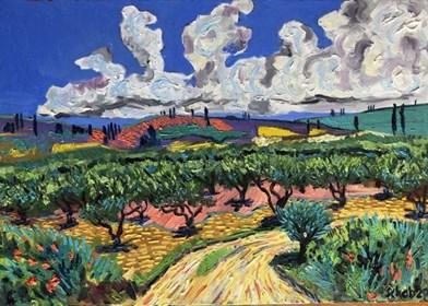 Obraz do salonu artysty David Schab pod tytułem Gaj oliwny w Grecji