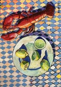 Living room painting by David Schab titled Still life with lobster and lemons