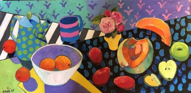 Obraz do salonu artysty David Schab pod tytułem Martwa natura z kubkiem w paski