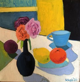 Living room painting by David Schab titled Still life with blue cup