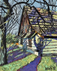 Living room painting by David Schab titled Country cottage