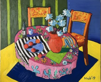 Living room painting by David Schab titled pink tablecloth