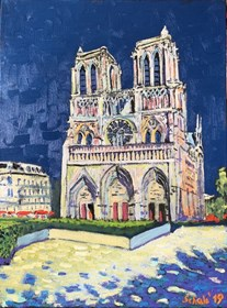 Living room painting by David Schab titled Norte Damme Cathedral