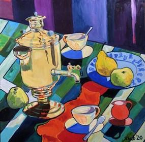 Living room painting by David Schab titled Samovar