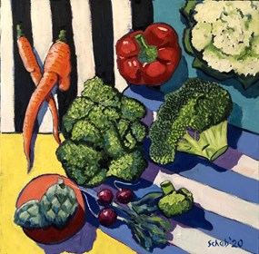 Living room painting by David Schab titled Vegetables