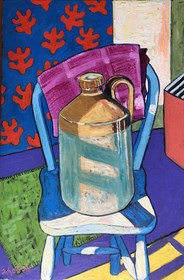 Living room painting by David Schab titled Still life with clay pitcher