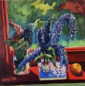 Living room painting by David Schab titled Still life with bird cherry and cabbage leafs