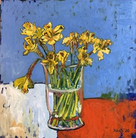 Living room painting by David Schab titled Daffodils in a vase