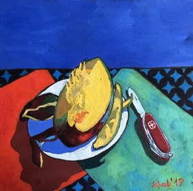 Living room painting by David Schab titled Still life with mango and Swiss Army knife