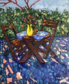 Obraz do salonu artysty David Schab pod tytułem Kawa w ogrodzie