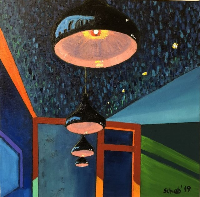 Living room painting by David Schab titled Lamps in London's pizzeria