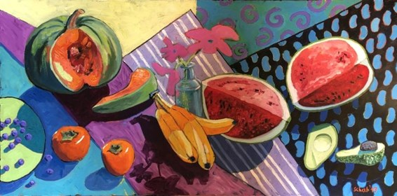 Living room painting by David Schab titled Still life with pumpkin and watermelon