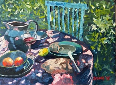Living room painting by David Schab titled Breakfast in the garden