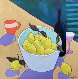 Living room painting by David Schab titled Lemons