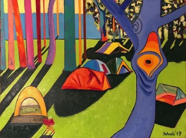Living room painting by David Schab titled Campsite