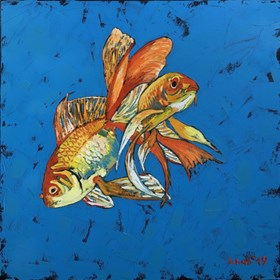 Living room painting by David Schab titled Gold fish