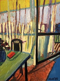 Living room painting by David Schab titled Spring in living room