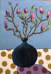 Living room painting by David Schab titled Magnolias in the vase