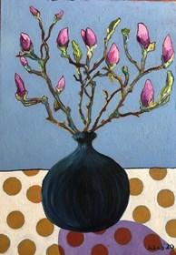 Obraz do salonu artysty David Schab pod tytułem Magnolie w wazonie