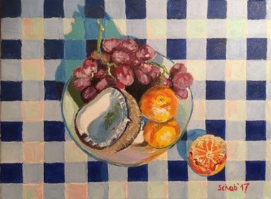 Living room painting by David Schab titled Still life with coconut