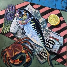 Obraz do salonu artysty David Schab pod tytułem Martwa natura z makrelą i Gazetą Wyborczą