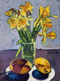 Living room painting by David Schab titled Still life with daffodils and mango