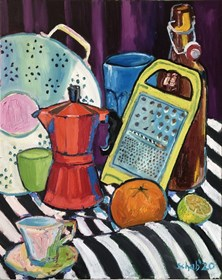 Living room painting by David Schab titled Still life with kitchen staff