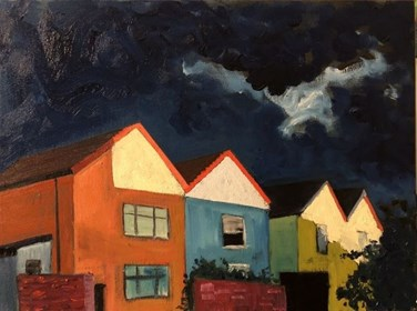 Living room painting by David Schab titled Storm clouds