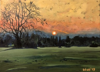 Living room painting by David Schab titled Sunset in Bristol